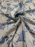 Ralph Lauren Italian Metallic Foil Printed Broadcloth Silk - Sliver / Blue