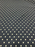 Square Polka Dot Printed Stretch Cotton Sateen - Navy / White