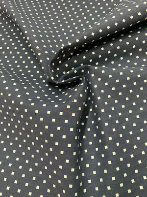 Square Polka Dot Strech Printed Cotton - Navy / White