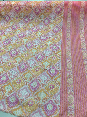 Double Border Scalloped Tile Cotton Voile - Orange / Pink