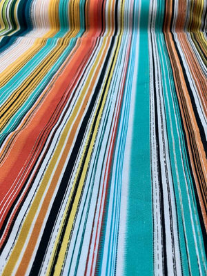 Southwest Striped Stretch Printed Cotton - Orange / Teal / Yellow