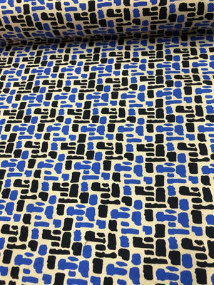 Graphic Stretch Printed Cotton Pique - Blue / Black / Sand