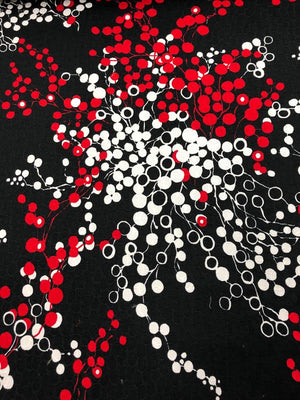 Abstract Cherry Clusters Jacquard Cotton Pique - Black / White / Red
