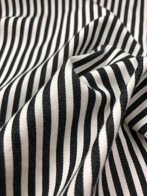 Pre-washed Striped Printed Cotton Twill - Black / White