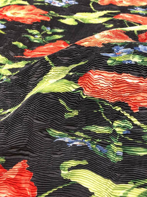 Italian Pleated Fused Floral Novelty - Navy / Green / Red