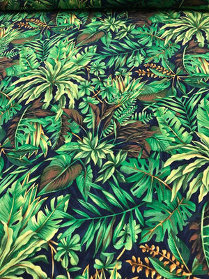 Rainforest Printed Cotton - Green / Blue