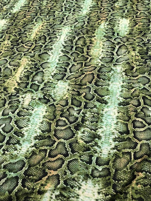 Reptile Printed Cotton Voile - Green / Black