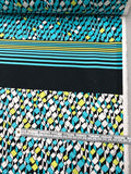 Art Deco Panel Stretch Printed Cotton Sateen - Turquoise / White / Chartreuse / Black