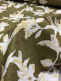 Floral Printed Lattice Jacquard Stretch Cotton - Olive Green / White / Yellow
