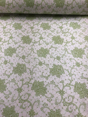 Ornate Stretch Lace Printed Cotton - Lime Green / White