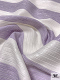 Christian Siriano Italian Striped Metallic Brocade - White / Purple