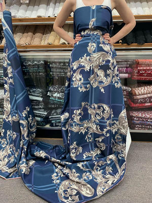Famous NYC Designer Italian Terracotta Vine Printed Silk Faille - Blue / Grey