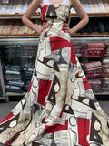 Oscar de la Renta Italian Musical Collage Printed Silk Faille - Red / Brown / Tan