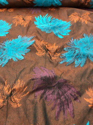 Christian Siriano Italian Floral Brocade - Blue / Orange / Brown