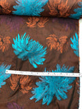 Christian Siriano Italian Floral Brocade - Teal / Orange / Brown