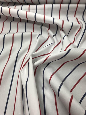 Striped Yarn Dyed Cotton Shirting - White / Red / Blue