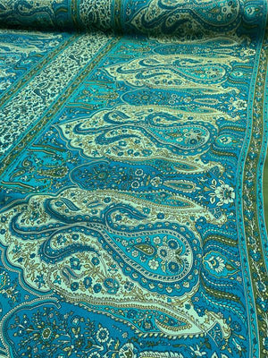 Paisley Printed Silk Georgette - Turquoise / Green
