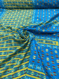 Geometric Gold Leaf Printed Silk Crepe de Chine - Teal / Rust / Gold