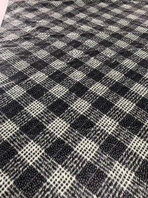 French Diagonal Plaid High-Pile Velvet - Black / Grey
