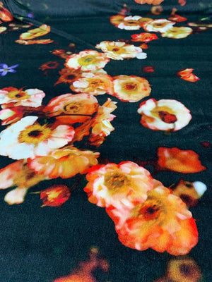 Floral Digital Printed Stretch Velvet - Black / Multicolor