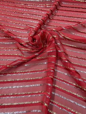 French Metallic Striped Cut Panné Velvet - Red / Gold / Silver