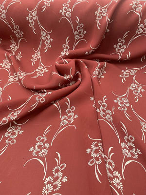 Delicate Bouquet Printed Silk Georgette - Brick