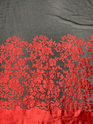 Border Floral Pattern Cut Velvet - Red / Black
