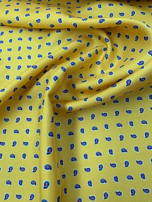 Italian Mini Paisley Printed Silk Twill - Yellow / Blue