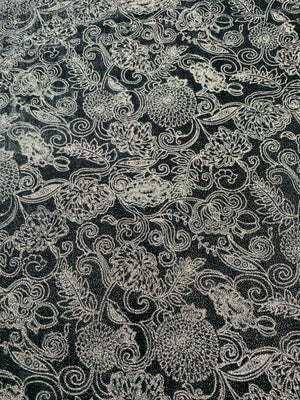 Italian Metallic Ornate Floral Cut Velvet - Grey / Silver