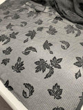 Italian Metallic Floral Lame Striped Cut Velvet - Black