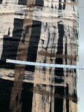 Italian Large-Scale Brushstroke Plaid Printed Velvet - Black / Brown / Tan
