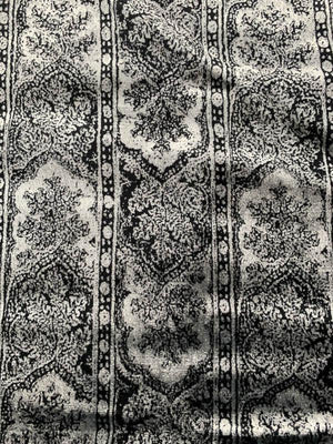Persian Arches Striped Printed Velvet - Silver / Black