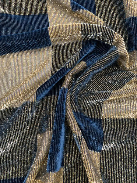 French Metallic Modern Geometric Printed Velvet - Gold / Navy / Black