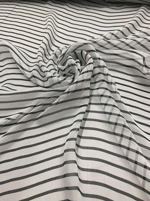 Striped Crinkled Silk Chiffon - Black / White
