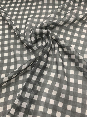 Gingham Printed Silk Chiffon - Dark Grey / White