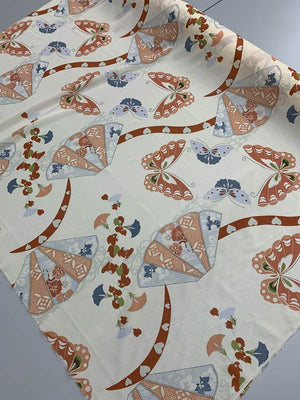 Butterfly & Fans Printed Stretch Silk Georgette - Tan / Rust / Multicolor
