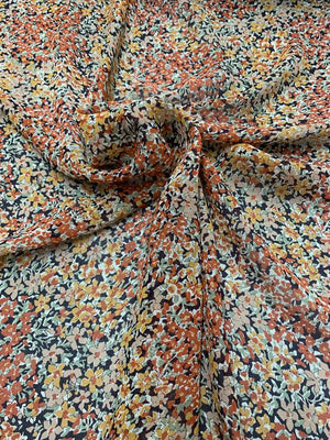 Mini Floral Printed Silk Georgette - Rust / Orange Blossom / Multicolor