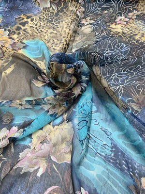 Floral Cheetah Collage Printed Crinkled Silk Chiffon - Blue / Tan / Multicolor