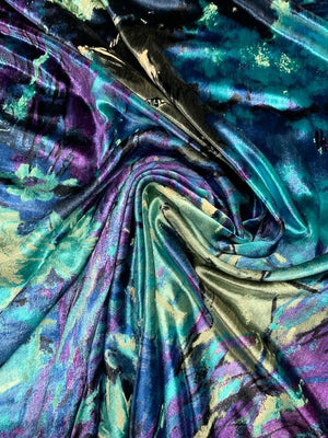 Italian Wolves & Sheep Abstract Printed Panne Velvet - Blue / Purple / Turquoise