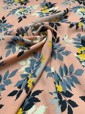Floral Juniper Berry Vine Printed Silk Georgette - Blush Pink / Blue / Mustard