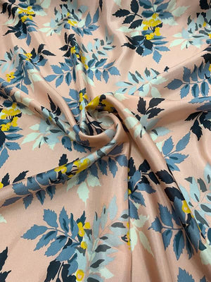 Floral Juniper Vine Printed China Silk - Blush Pink / Blue / Mustard
