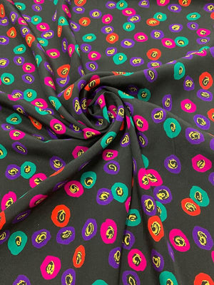 Italian Poppy Floral Printed Silk Crepe de Chine - Black / Multicolor