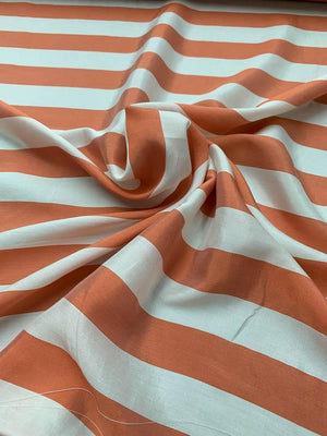 Italian Striped Printed Silk Habotai - Coral / White