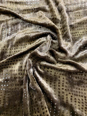 Geometric Embossed-Look Printed Velvet - Mocha Brown