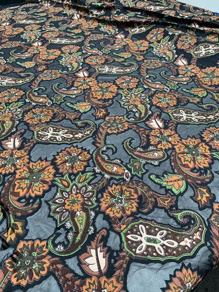 Floral Paisley Printed Stretch Cut Velvet - Brown / Black / Forest Green