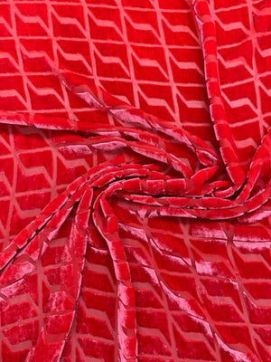 Geometric Art Deco Cut Velvet - Red