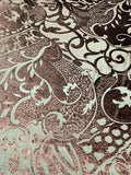 Paisley Swirls Cut Velvet - Maroon Brown