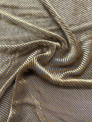 Italian Diagonal Striped Cut Velvet - Gold / Black