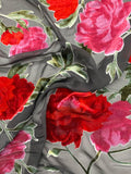 Italian Blooming Floral Vines Cut Velvet - Red / Pink / Green / Black