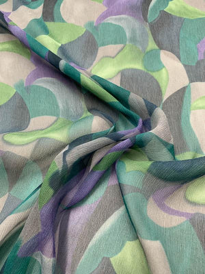 Italian Art Deco Printed Crinkled Silk Chiffon - Purple / Teal / Black / Grey